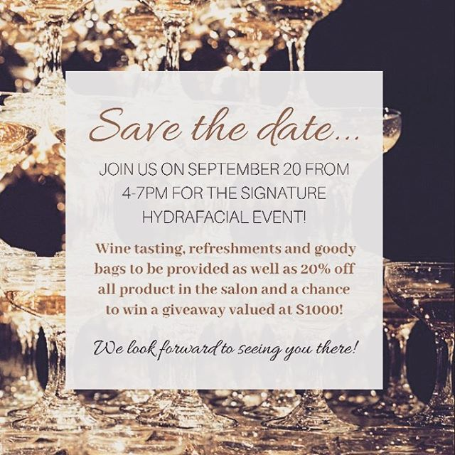 SAVE THE DATE! ✨🥂 Who: John Kenneth Salon & @flawlessfinish_yeg • When: September 20th 4-7pm • Where: John Kenneth Hair Studio (5, 420 King Street) • Why: to learn all about the new Signature Hydrafacial + receive 20% off all product in the salon! Wine tasting, refreshments and a chance to win a $1000 gift! • RSVP to the link below to save your ticket! *100% of ticket price will go towards a hydrafacial service* •  https://www.eventbrite.ca/e/signature-hydrafacial-event-tickets-49866095835?utm-medium=discovery&utm-campaign=social&utm-content=attendeeshare&aff=estw&utm-source=tw&utm-term=listing . . . #event #yegevent #sprucegrove #hydrafacial #rsvp #savethedate #yeg #yeghairsalon #yegskincare #joinus #yeggers #kevinmurphy #davines #dermalogica #signaturehydrafacial #flawlessfinish