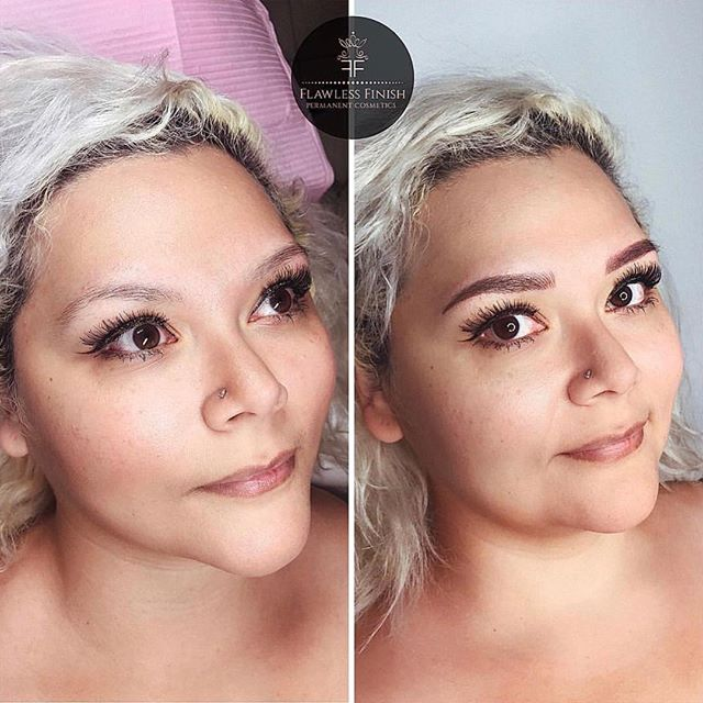 BROWS by Shaundra✨ @flawlessfinish_yeg  Major transformation for this blonde bombshell! • • Technique: combination of microblading and manual ombré shading