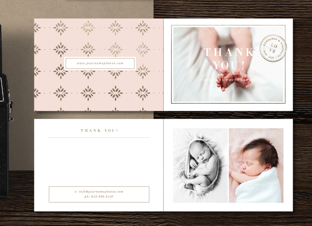 Newborn Photography Thank You Card Template
