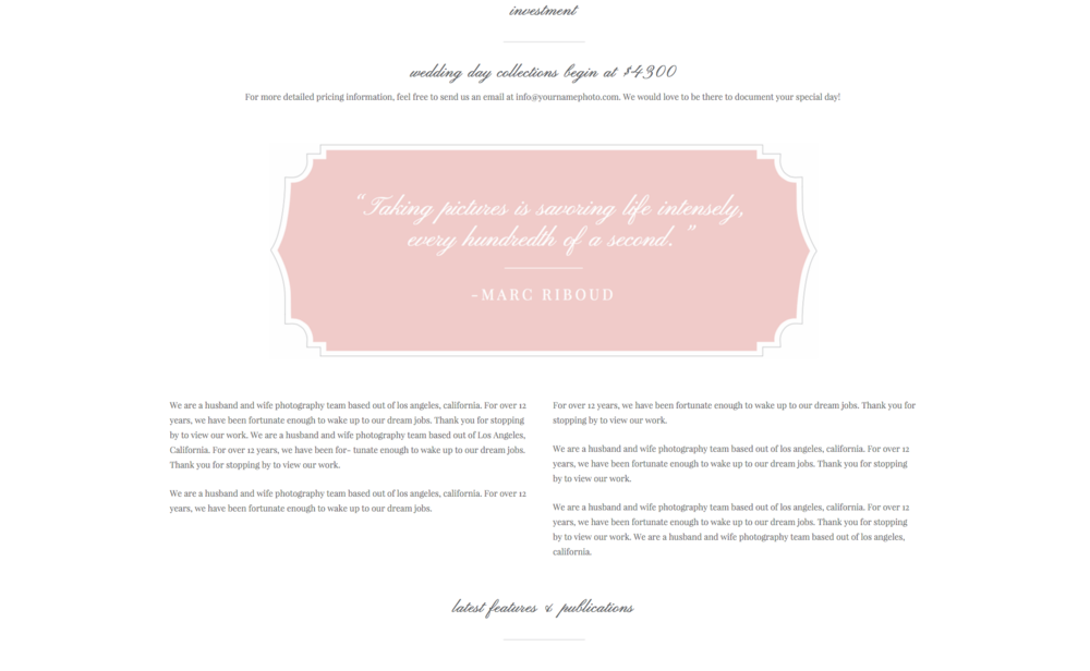 Squarespace Template Wedding Welcome Package For Photographers Creatives Eucalyptus