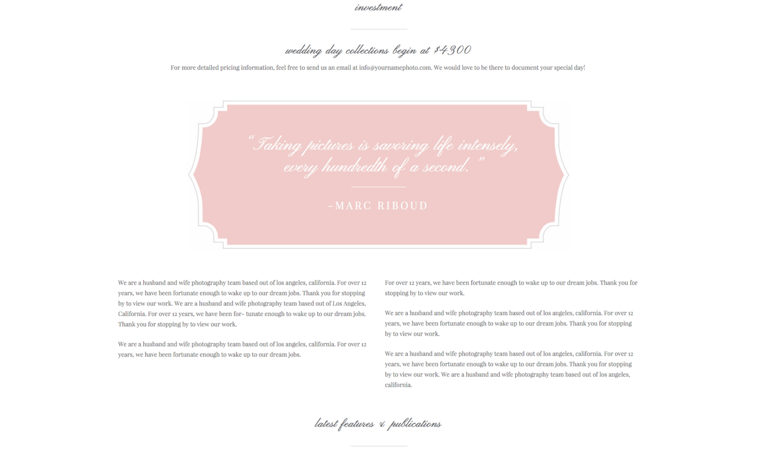 squarespace website design wedding welcome package eucalyptus
