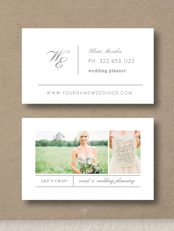 Business card template for wedding planners eucalyptus wajeb Image collections