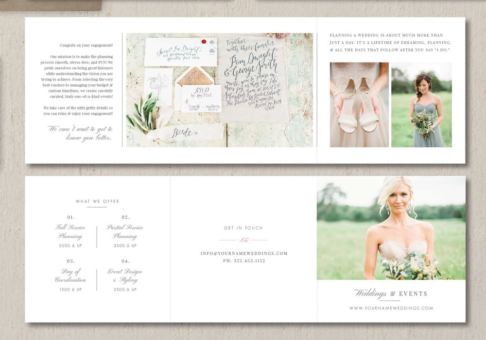 pricing guide trifold template for wedding planners eucalyptus