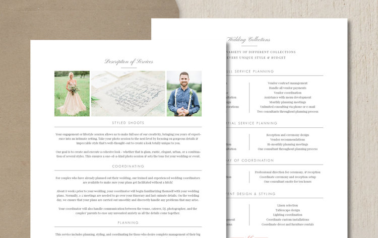Wedding Planner Pricing Guide Template  Eucalyptus