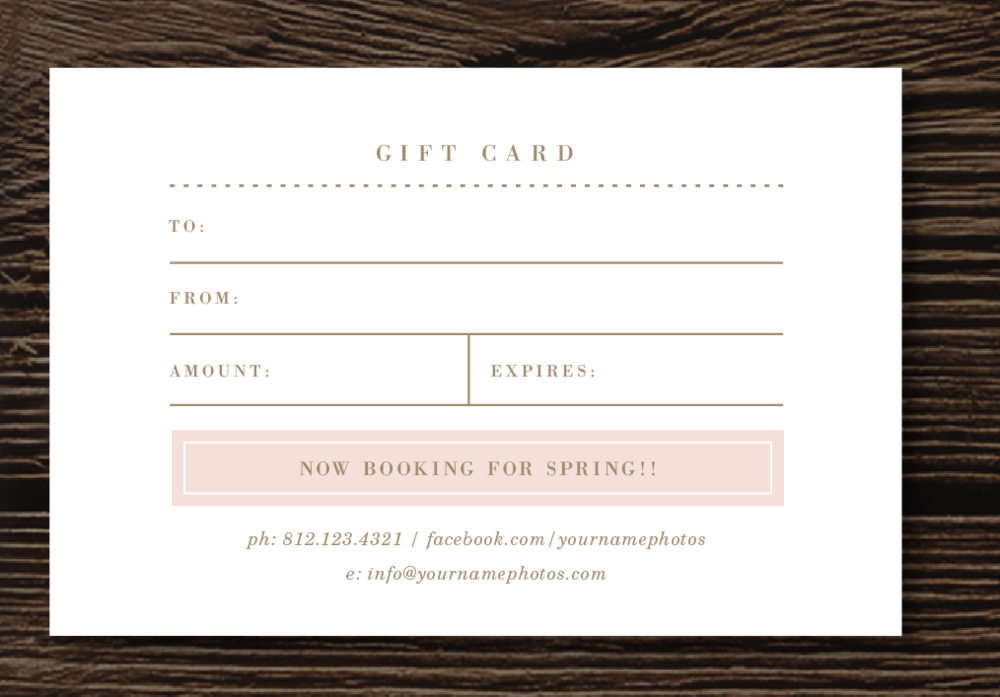 Gift Card Template for Photographers Lily