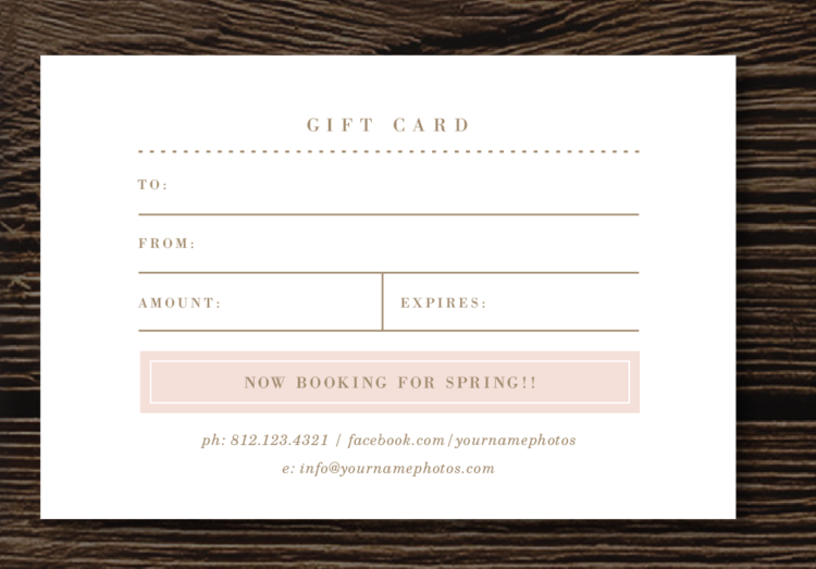 gift card template photography gift certificate design bittersweet design boutique