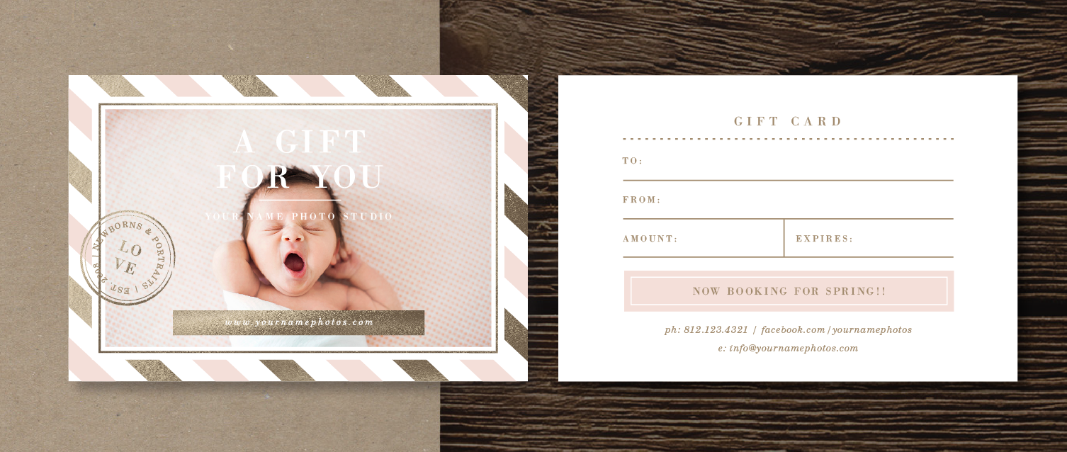 Gift certificate templates photographer gift card template photography gift certificate design bittersweet design boutique xflitez Choice Image