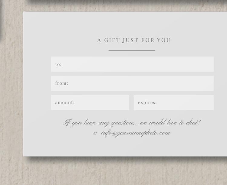 Photographer gift card template eucalyptus yelopaper Gallery
