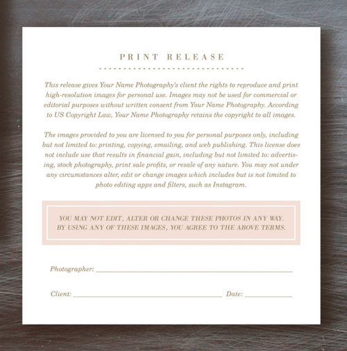 Print Release Form Photo Print Release Form Template Photography