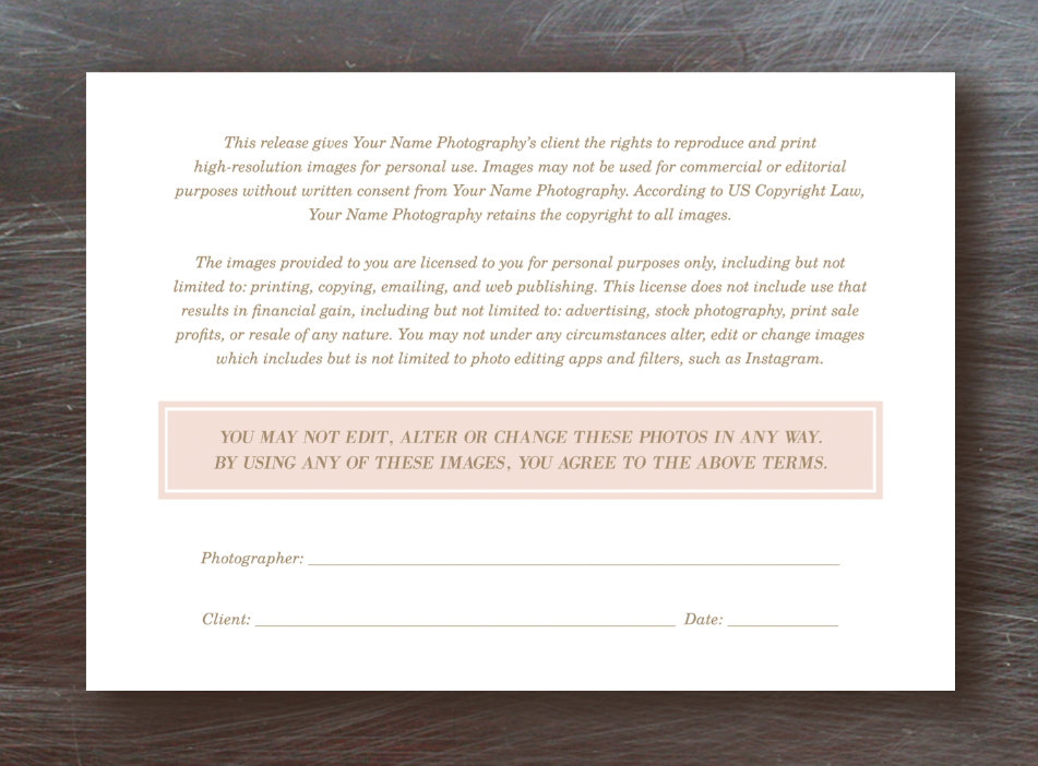Photo Licensing Agreement Form Lily