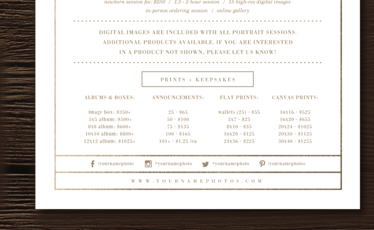 Photography Pricing Guide Sheet Lily