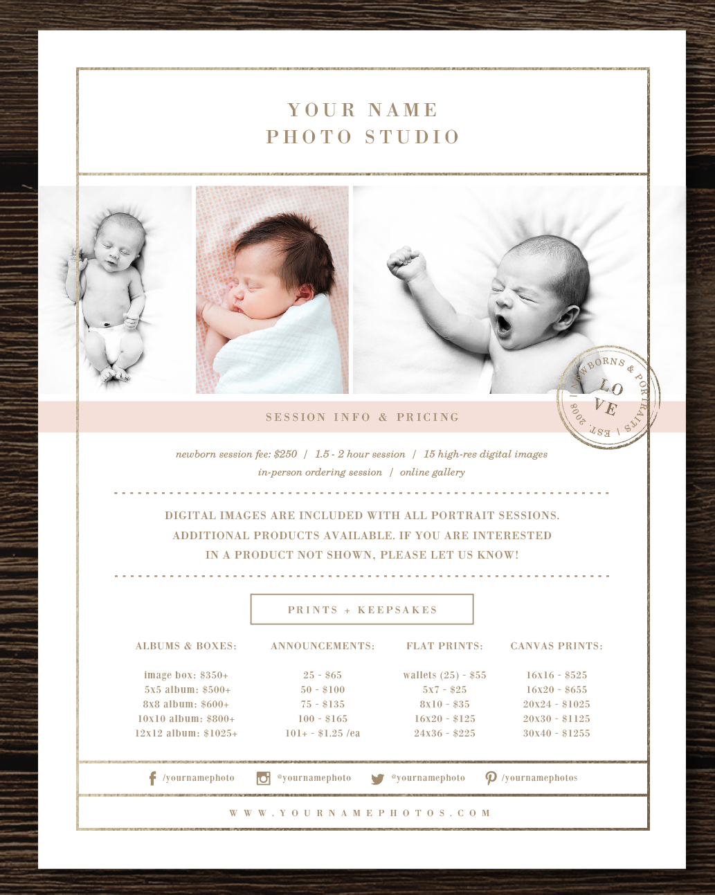 Photography price list templates photographer marketing set bittersweet design boutique