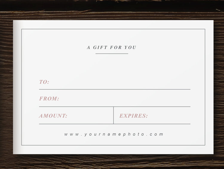 Photographer Gift Card Template  Laurel