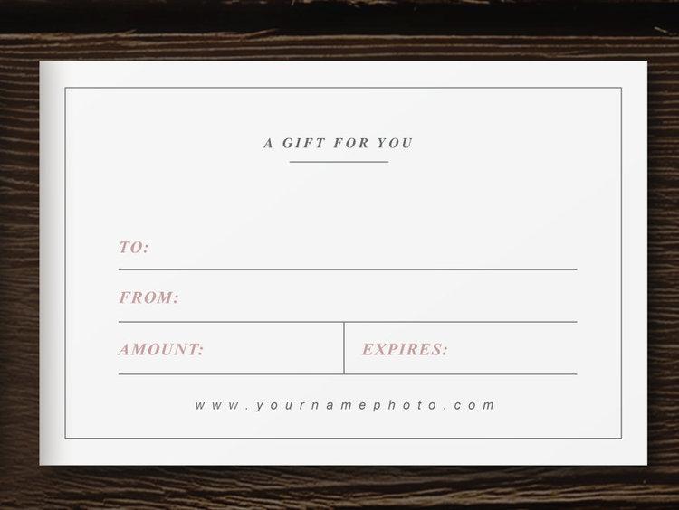 gift card template photographer marketing bittersweet designs