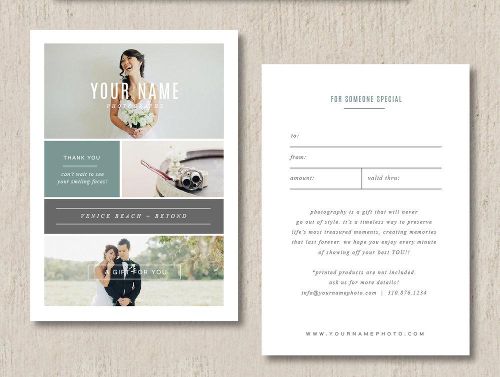 Photographer Gift Card Templates Photo Marketing Templates Venice