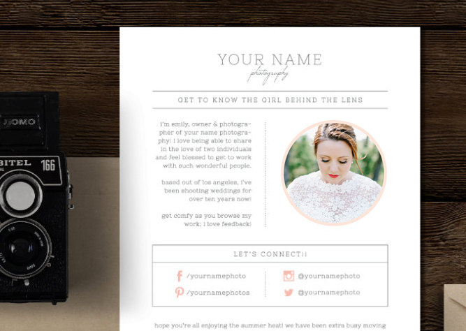 Email Newsletter Template For Photographers & Wedding Planners