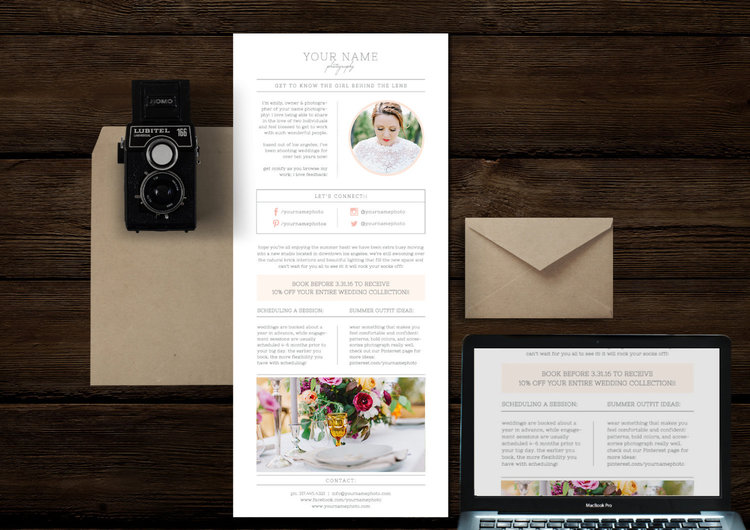 email newsletter template for photographers wedding planners cambria