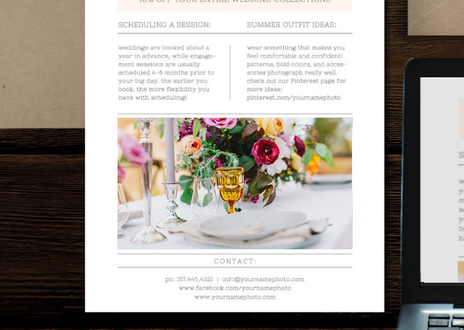 Email Newsletter Template For Photographers  Wedding Planners