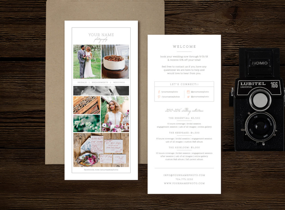 Rack Card Template For Photographers  Wedding Photographer Brochure