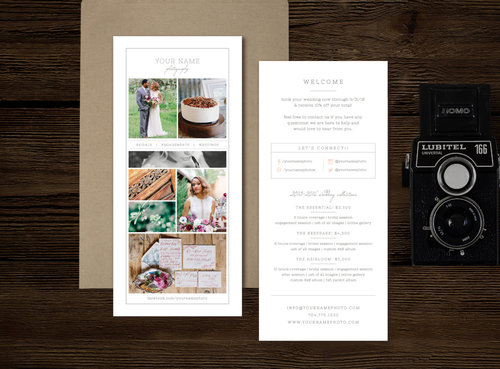 Photography Branding Wedding Photographer Magazine Templates - Pricing flyer template