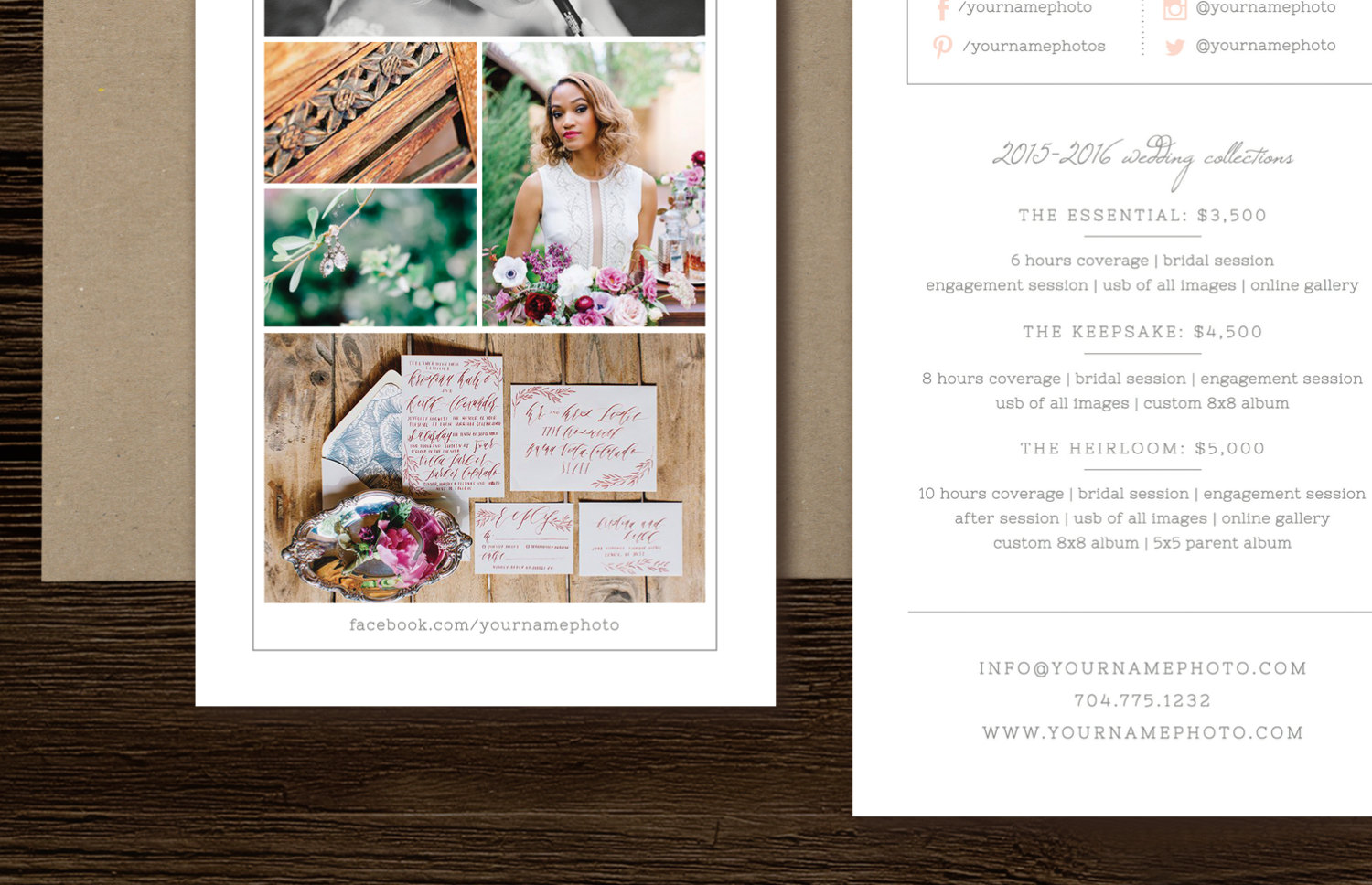 Rack Card Template For Photographers Wedding Photographer - Wedding photography brochure template