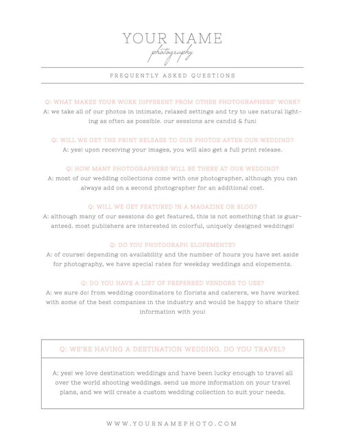 What to wear faq template for wedding photographers cambria maxwellsz