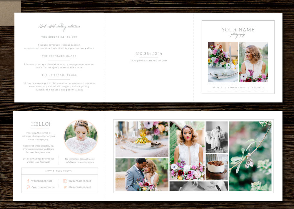 Pricing Templates For Wedding Photographers U0026 Planners   Price List Template    Trifold Design Template   Instant Branding   M0137