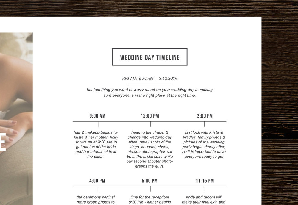 Wedding Timeline Template For Photographers  Minimal Magazine Style