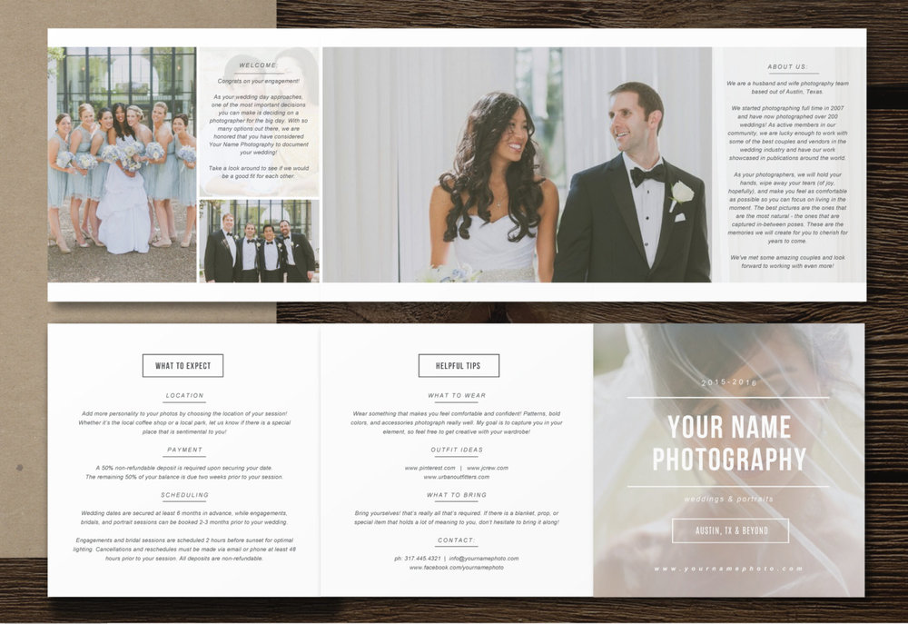Pricing Guide Trifold Template | Price List Template | Investment Page For  Photographers