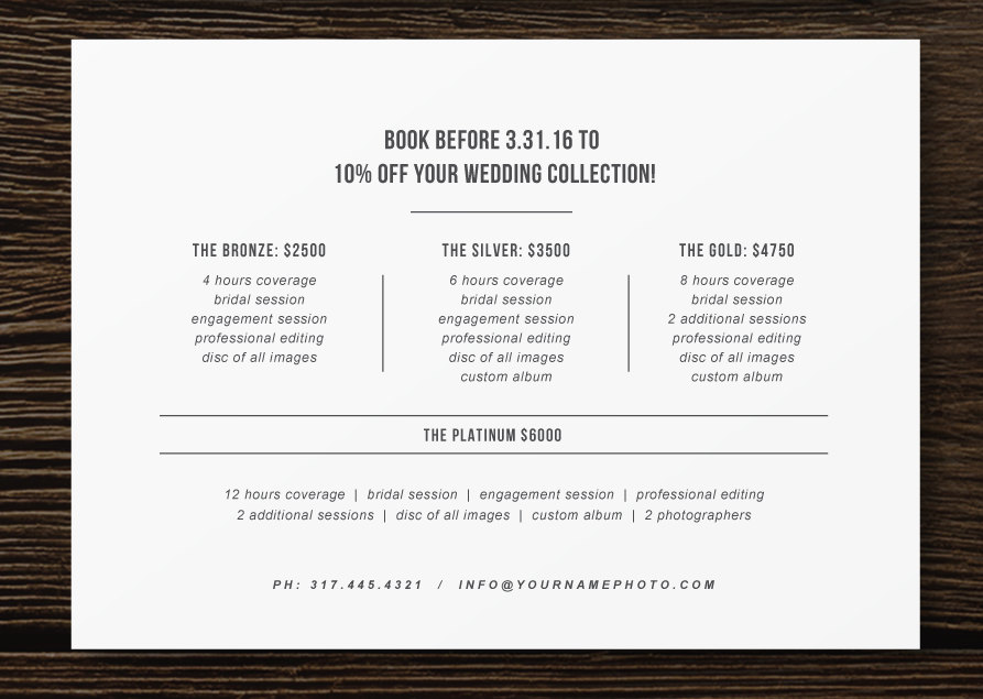 pricing guide flyer template for photographers wedding photography