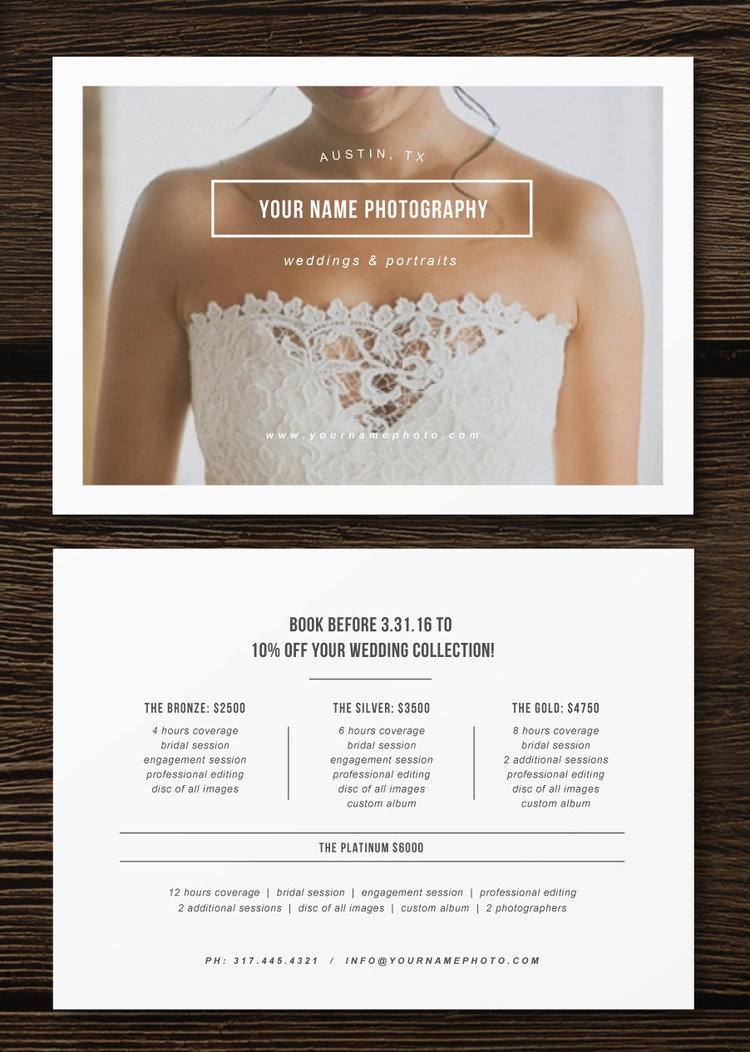 Pricing Guide Flyer Template For Photographers Wedding - Wedding photography brochure template