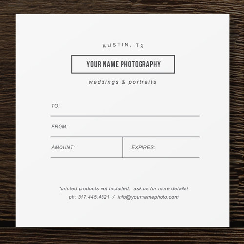 gift card template professional photography templates