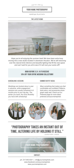 Photography Newsletter Template For Email Pinterest Minimal - Wedding newsletter template