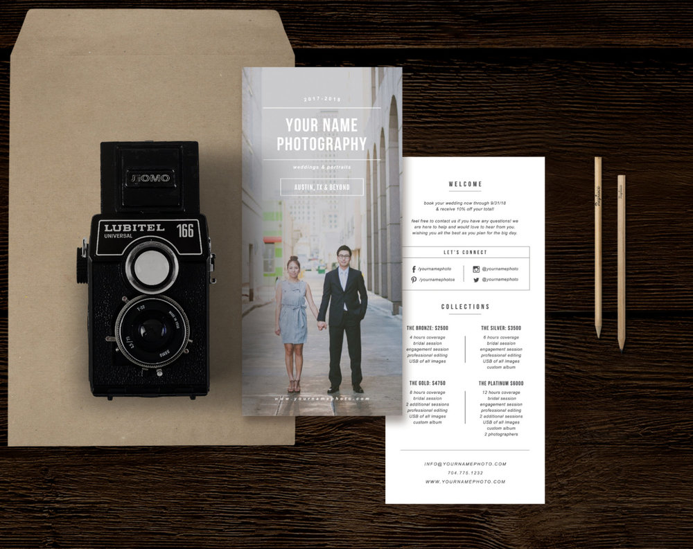 Wedding Photographer Pricing Guide Template - UPrinting Rack Card ...