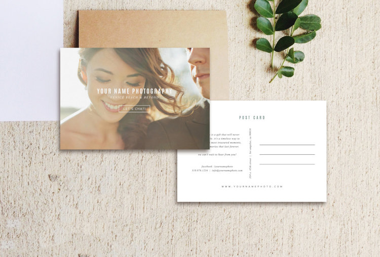 Vintage Postcard Template Photo Marketing Digital Download - Photography postcard template