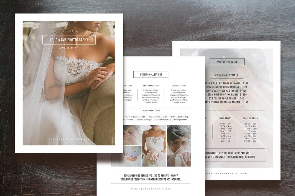 Photographer Pricing Guide Set Wedding Magazine Price List – Wedding Price List
