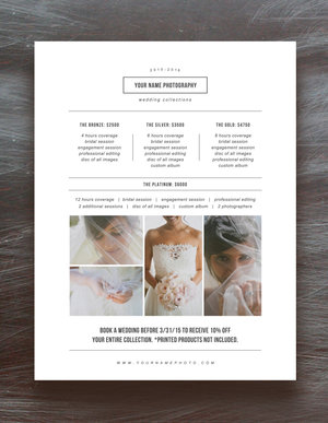 photography pricing template price list templates wedding