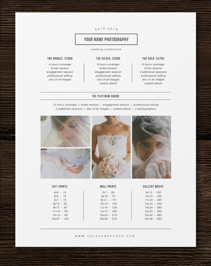 Price List Template   Photographer Pricing Guide   Wedding Price List    Branding U0026 Marketing Designs   M0180