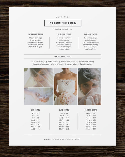 Price List Template - Photographer Pricing Guide - Wedding Price List - Branding & Marketing Designs - m0180