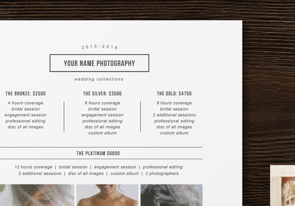 Price List Template - Photographer Pricing Guide - Wedding Price