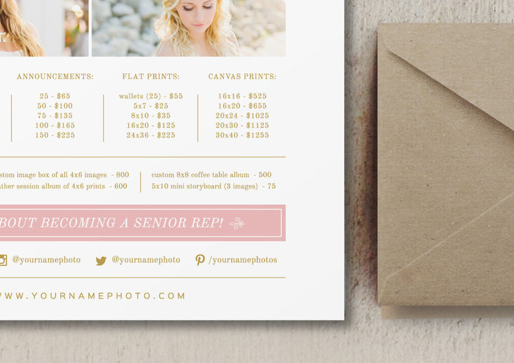photography price list template pricing sheet guide photographer