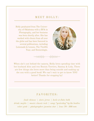 Photographer About Me Page Holly