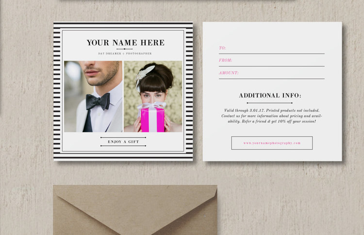Gift Card Design For Wedding & Portrait Photographers