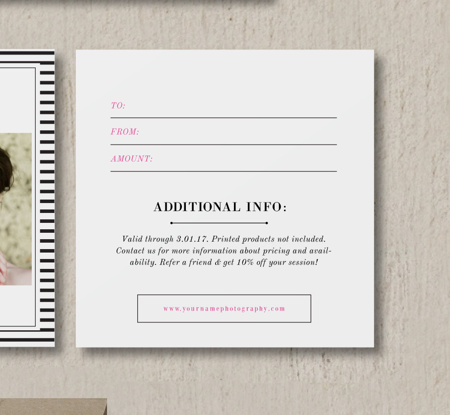 Beautiful Gift Card Design For Wedding U0026 Portrait Photographers   Photography Gift  Certificate Template