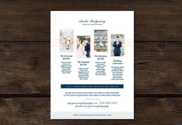 Photography Pricing Template - Wedding Photographer Price List - 8.5 ...