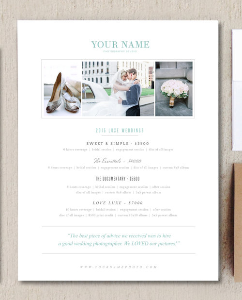 Wedding Photographer Pricing Guide Photography Templates Digital