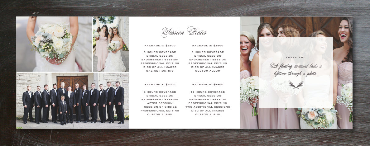 photography template trifold pricing guide design photographer