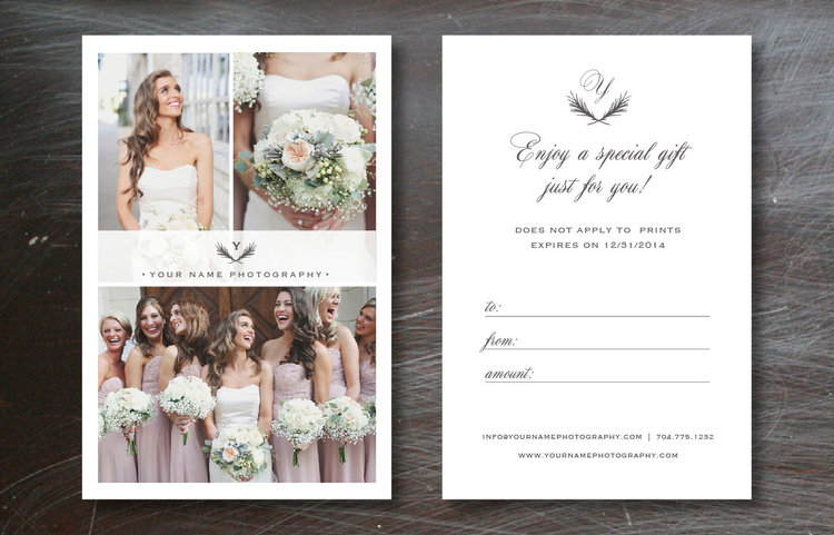Photography Gift Card Template - Wedding Photographer Gift Certificate