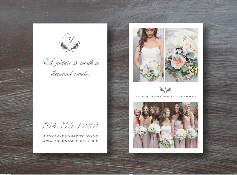 Favoloso Vertical Business Card Template for Wedding Photographers  XU31