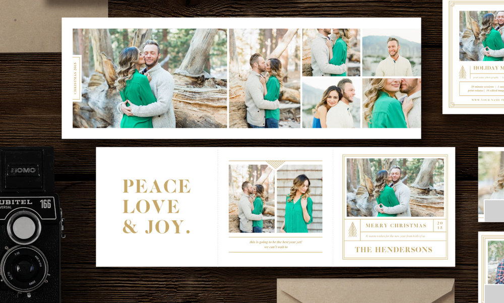 Christmas Card Templates for Photographers - 5x5 Trifold